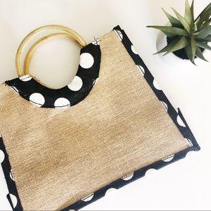 Jute Small Tote Polka Dot & Tan Weave Ring Handles